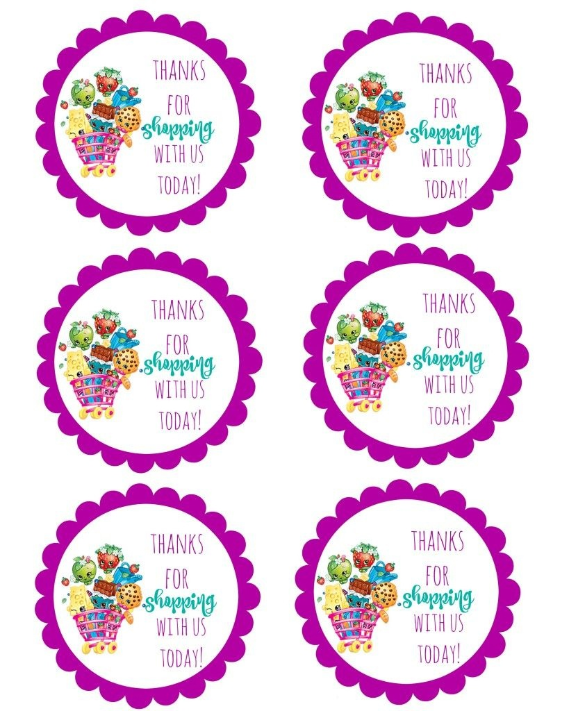 Shopkins Thank You Labels Via Mandy's Party Printables | Free - Shopkins Thank You Cards Free Printable