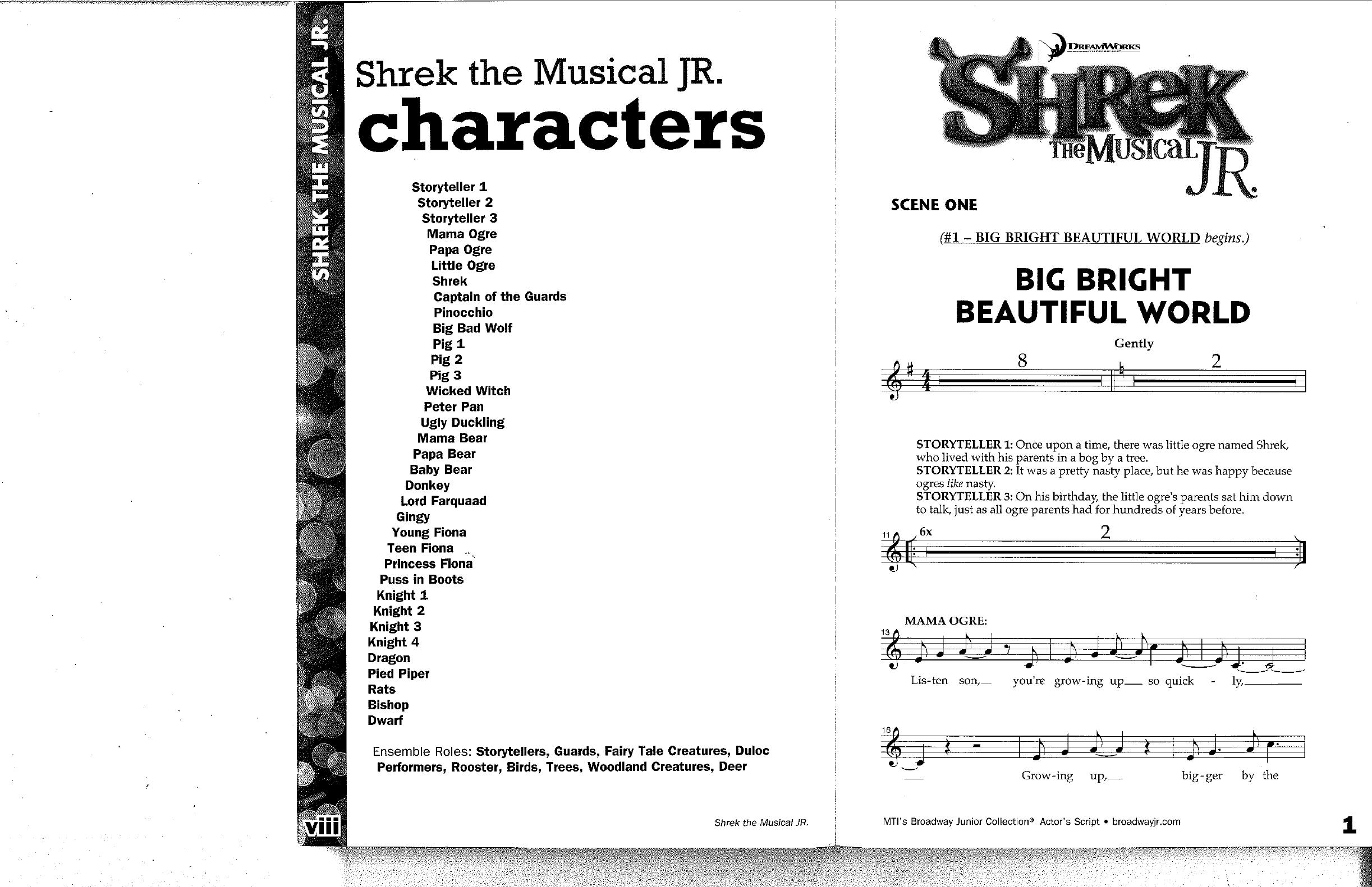 Shrek Jr - Script Pt1 - Free Printable Musical Scripts