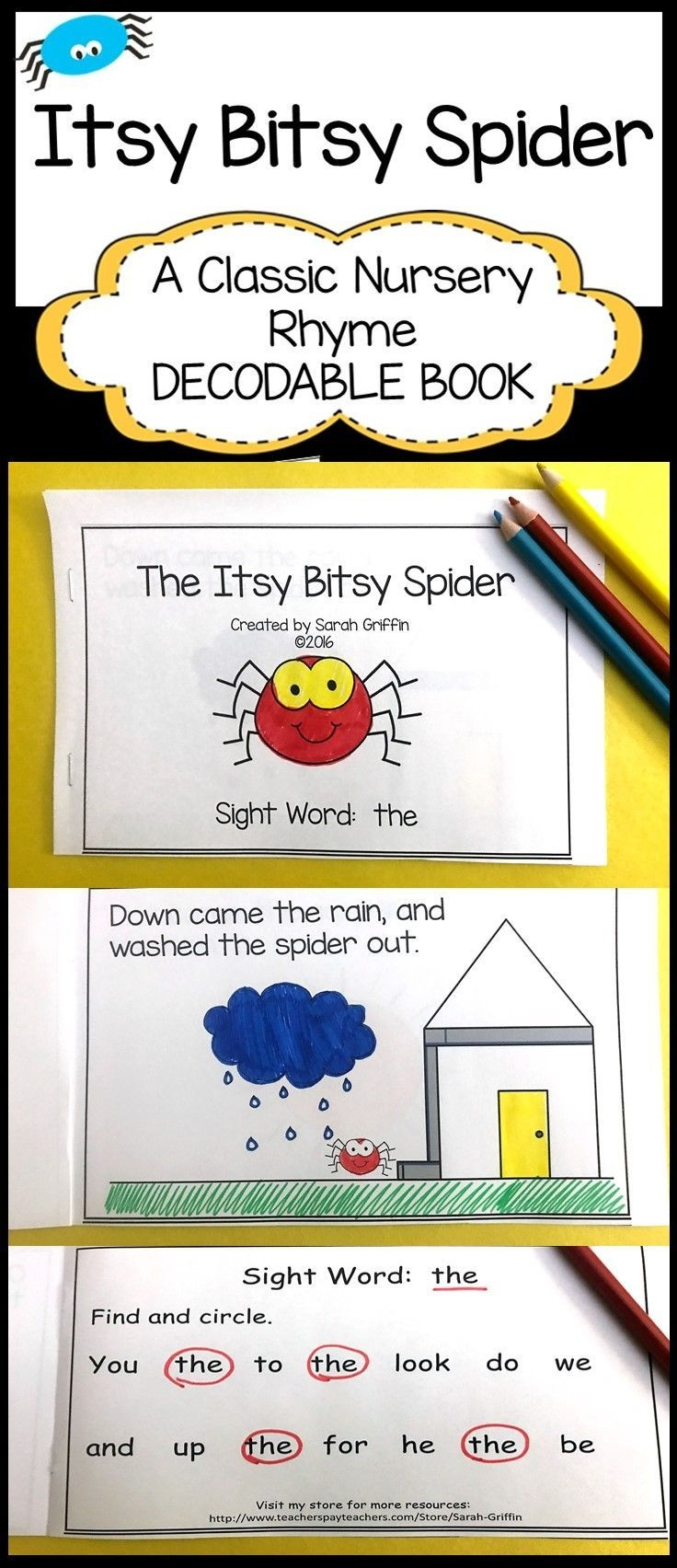 Sight Word Reader - Itsy Bitsy Spider - Bw | It's About Time For - Free Printable Decodable Books For Kindergarten