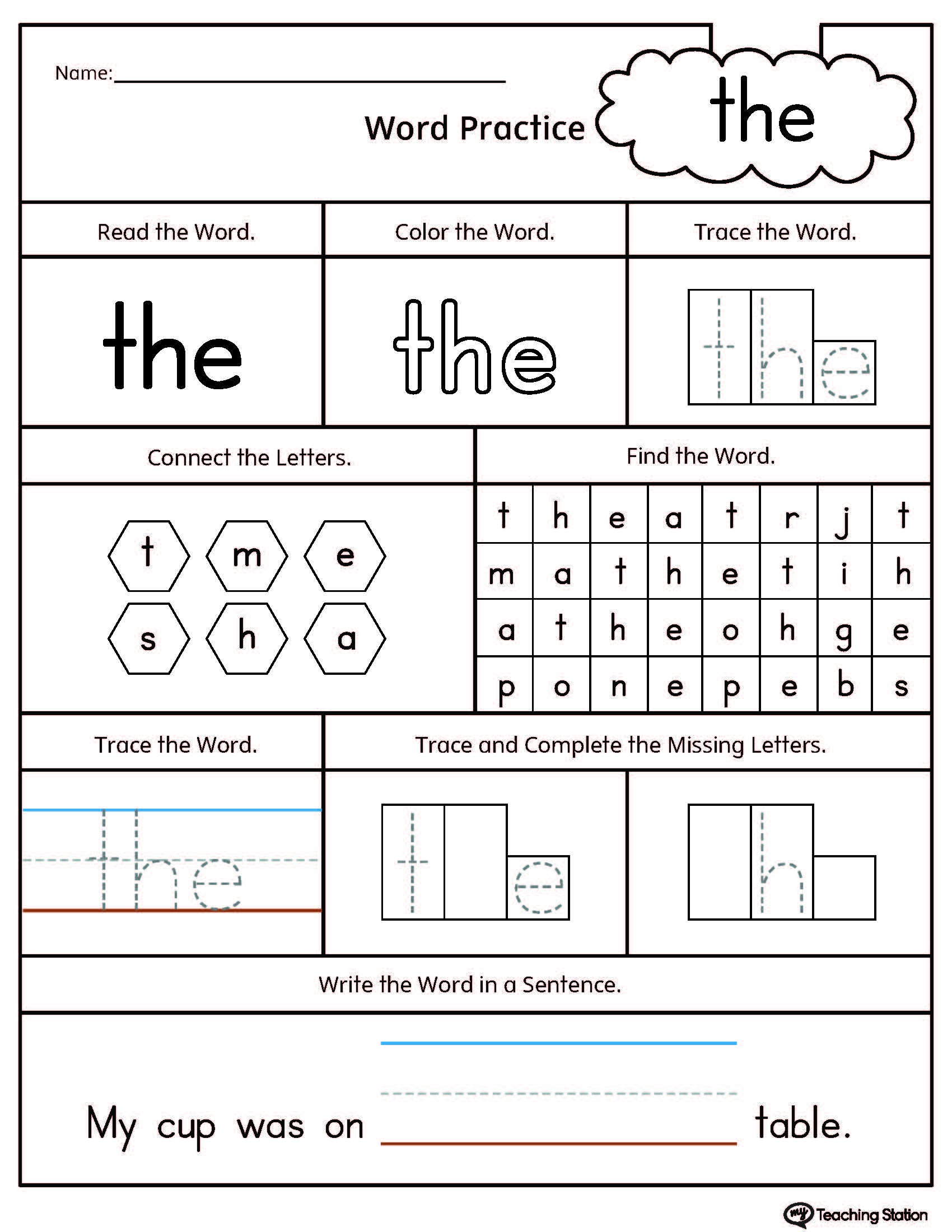 Sight Word The Printable Worksheet   Myteachingstation - Free Printable Sight Word Reading Passages