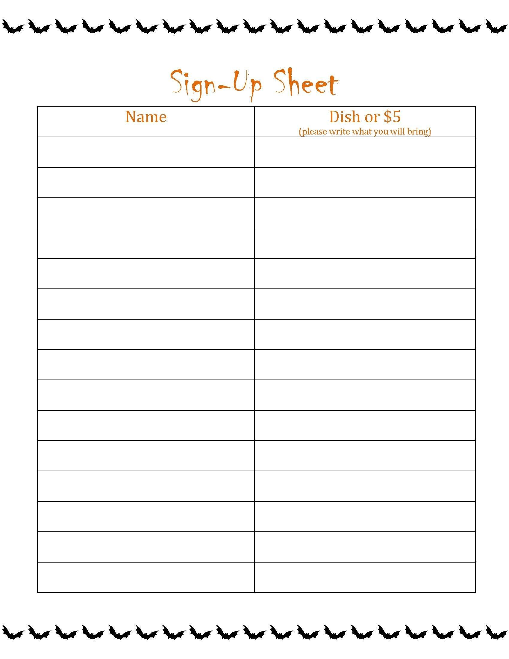 Sign Up Sheet For Potluck Unique Potluck Sign Up Sheet Halloween - Free Printable Sign Up Sheets For Potlucks
