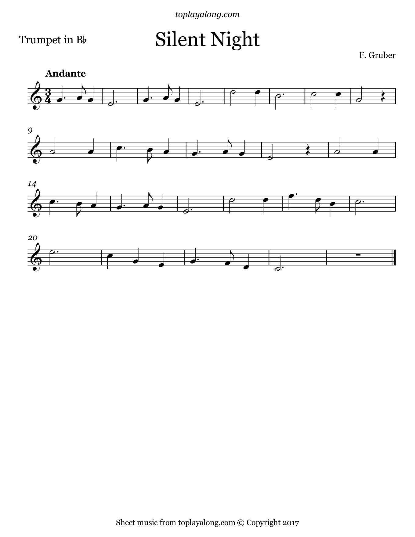 Silent Night – Toplayalong - Free Printable Christmas Sheet Music For Clarinet