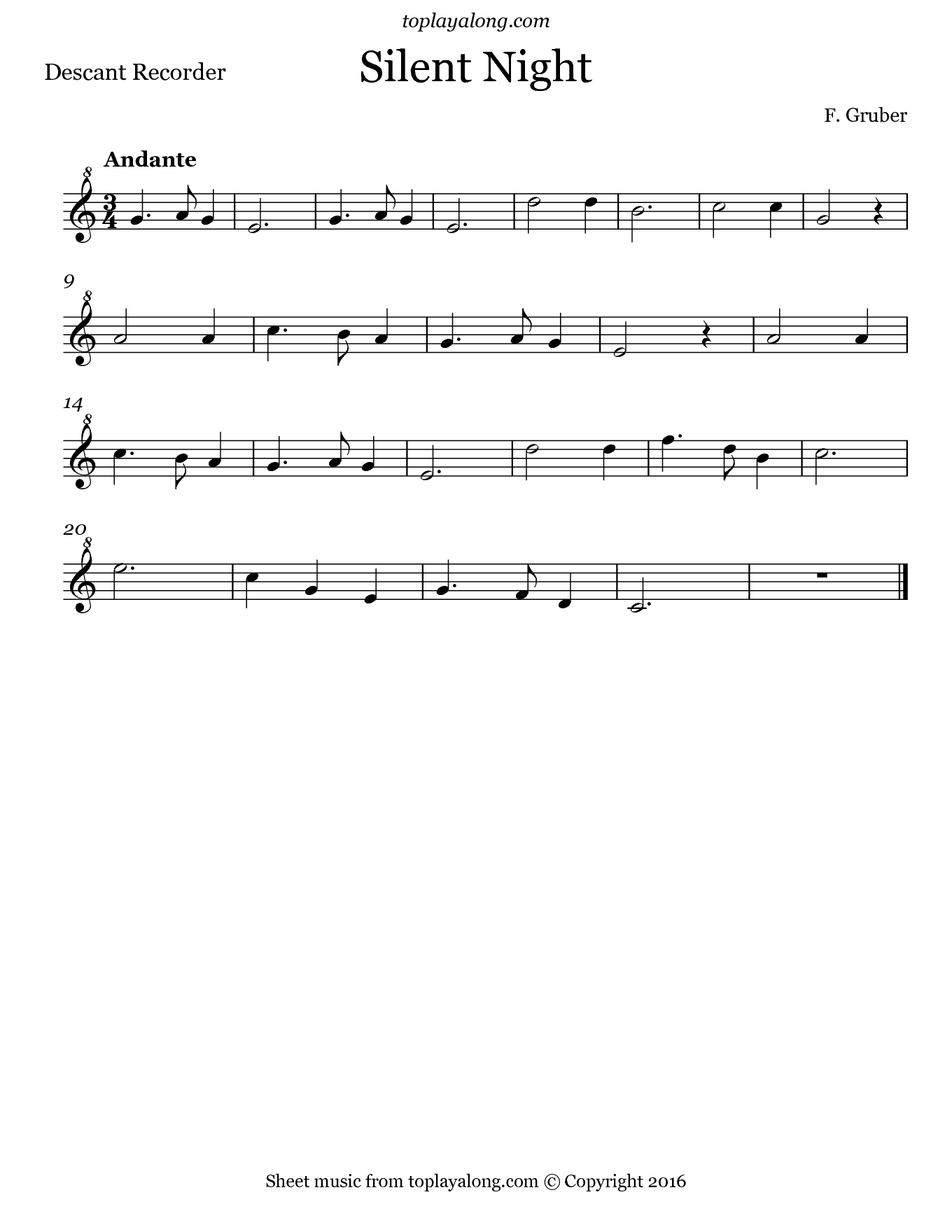 Silent Night – Toplayalong - Free Printable Recorder Sheet Music For Beginners
