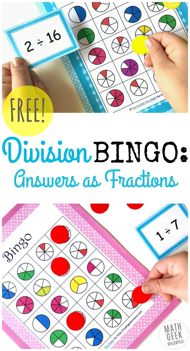 Simple And Fun Division Bingo Game: Answers As Fractions - Fraction Bingo Cards Printable Free