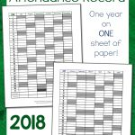 Simple Homeschool Attendance Record 2018 2019   Mamas Learning Corner   Free Printable Attendance Sheets For Homeschool