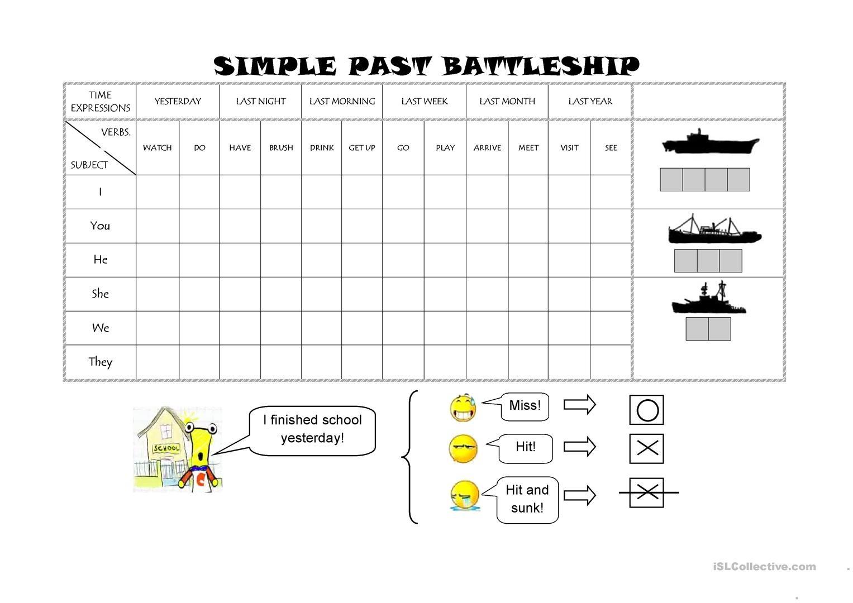 Simple Past Battleship Worksheet - Free Esl Printable Worksheets - Free Printable Battleship Game