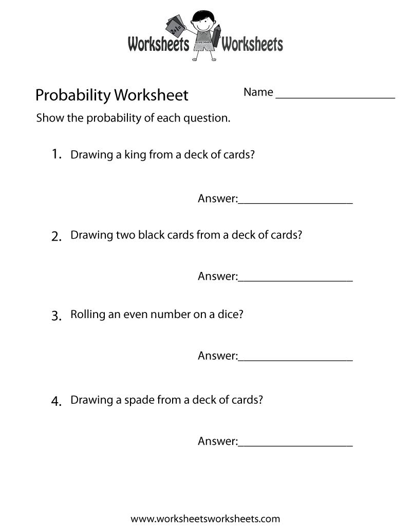 Simple Probability Worksheet - Free Printable Educational Worksheet - Free Printable Probability Worksheets 4Th Grade