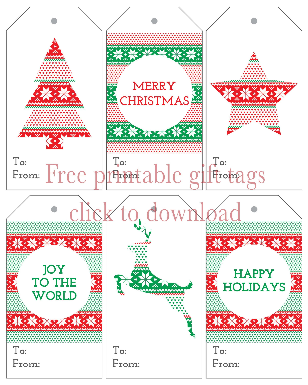 Six Christmas Gift Tags - Free Printables   Christmas   Christmas - Free Printable Christmas Tags Templates