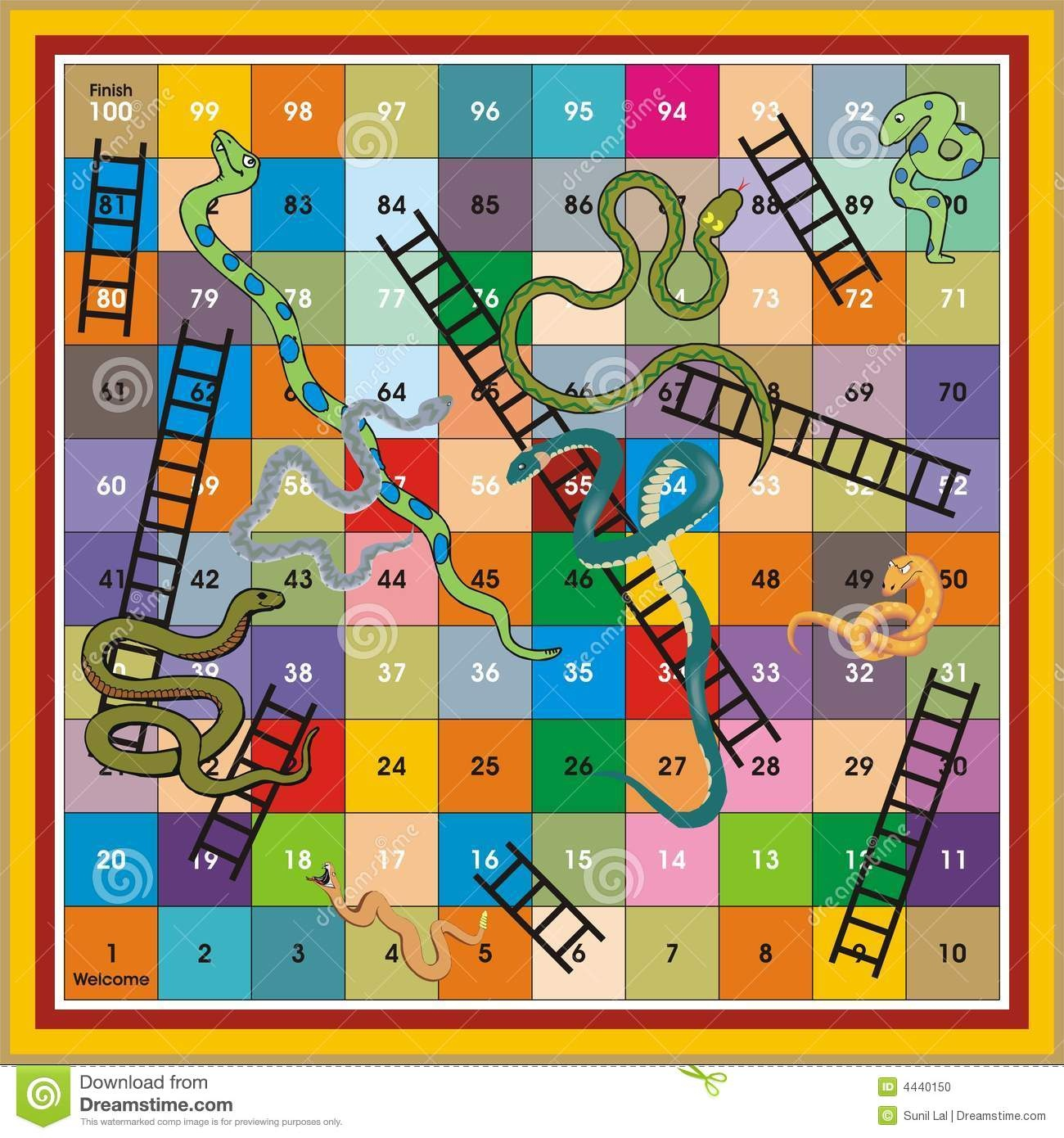 Snake Ladder Ludo-Print & Play Stock Illustration - Illustration Of - Free Snakes And Ladders Printable