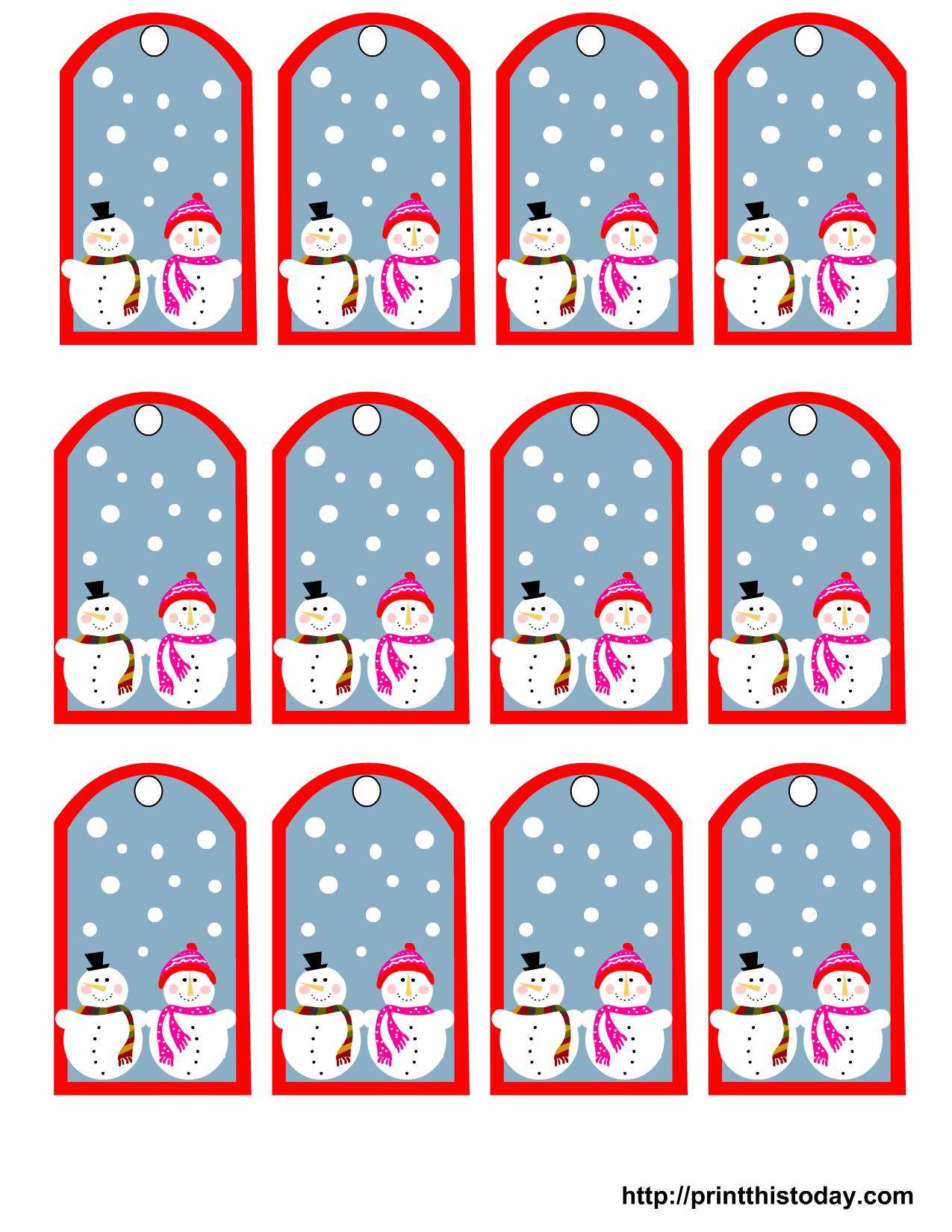 Snowman And Snow-Woman Printable Christmas Gift Tags | Ld's | Gift - Free Printable Editable Christmas Gift Tags