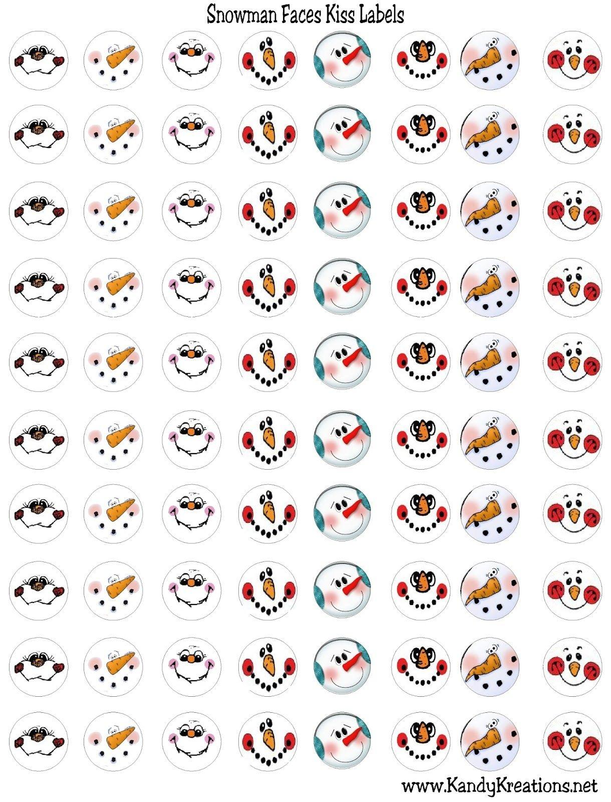 Snowman Faces Kiss Label Free Printable | Planner Stickers | Snowman - Free Printable Snowman Face Stencils