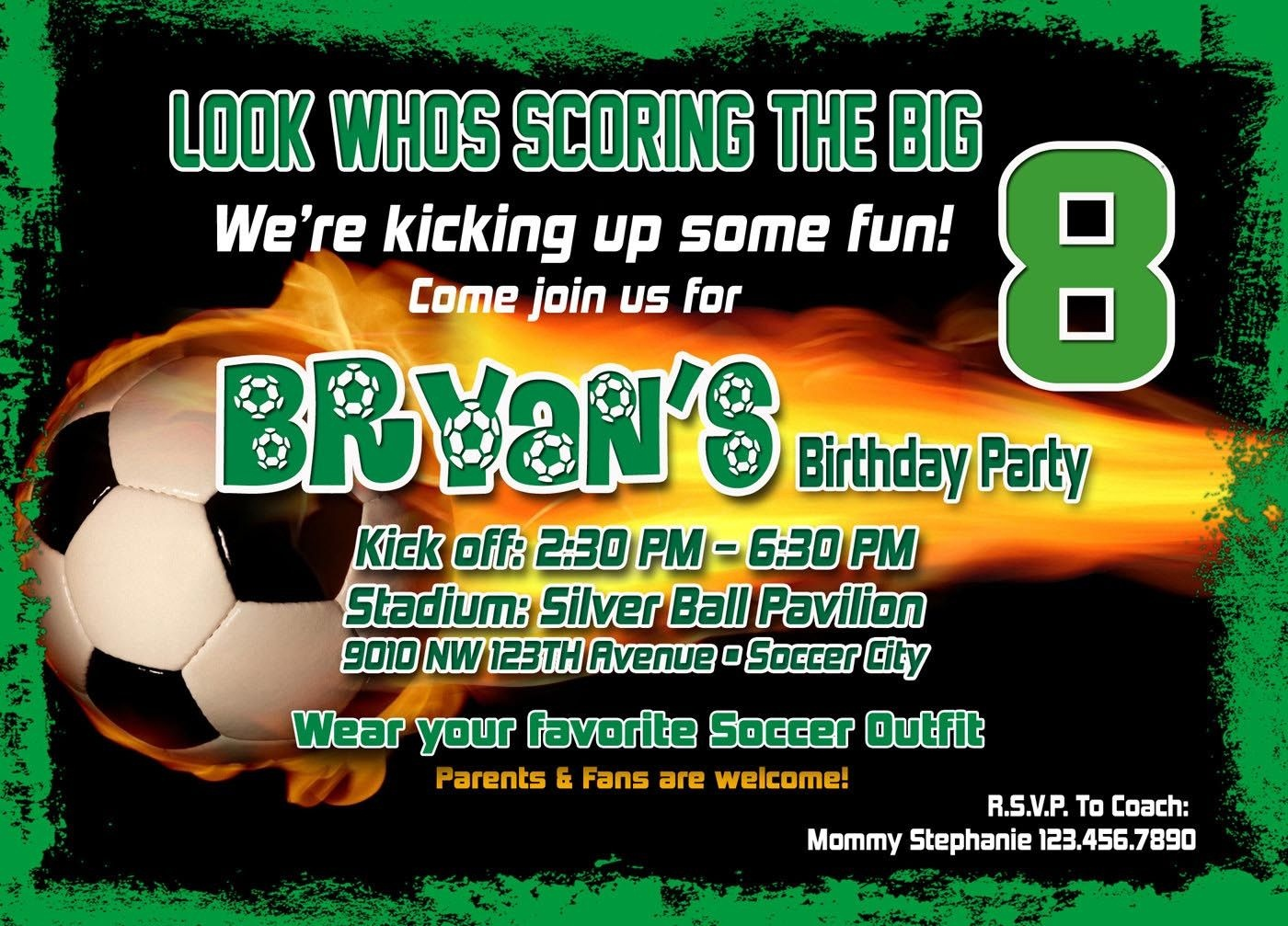 Soccer Birthday Party Invitation Template | Birthday Party | Soccer - Free Printable Soccer Birthday Invitations