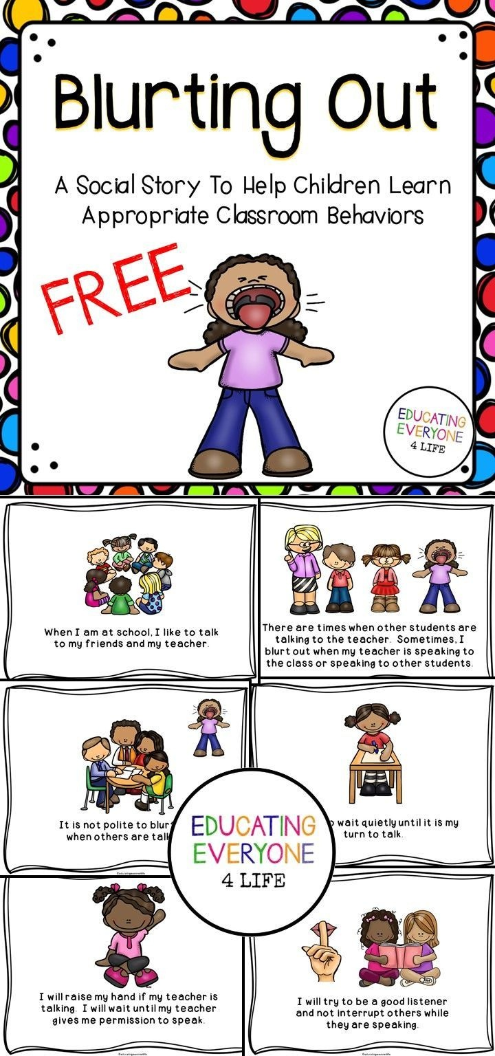 Social Story Blurting Out In The Classroom | Social Skills | Social - Free Printable Social Stories For Kids