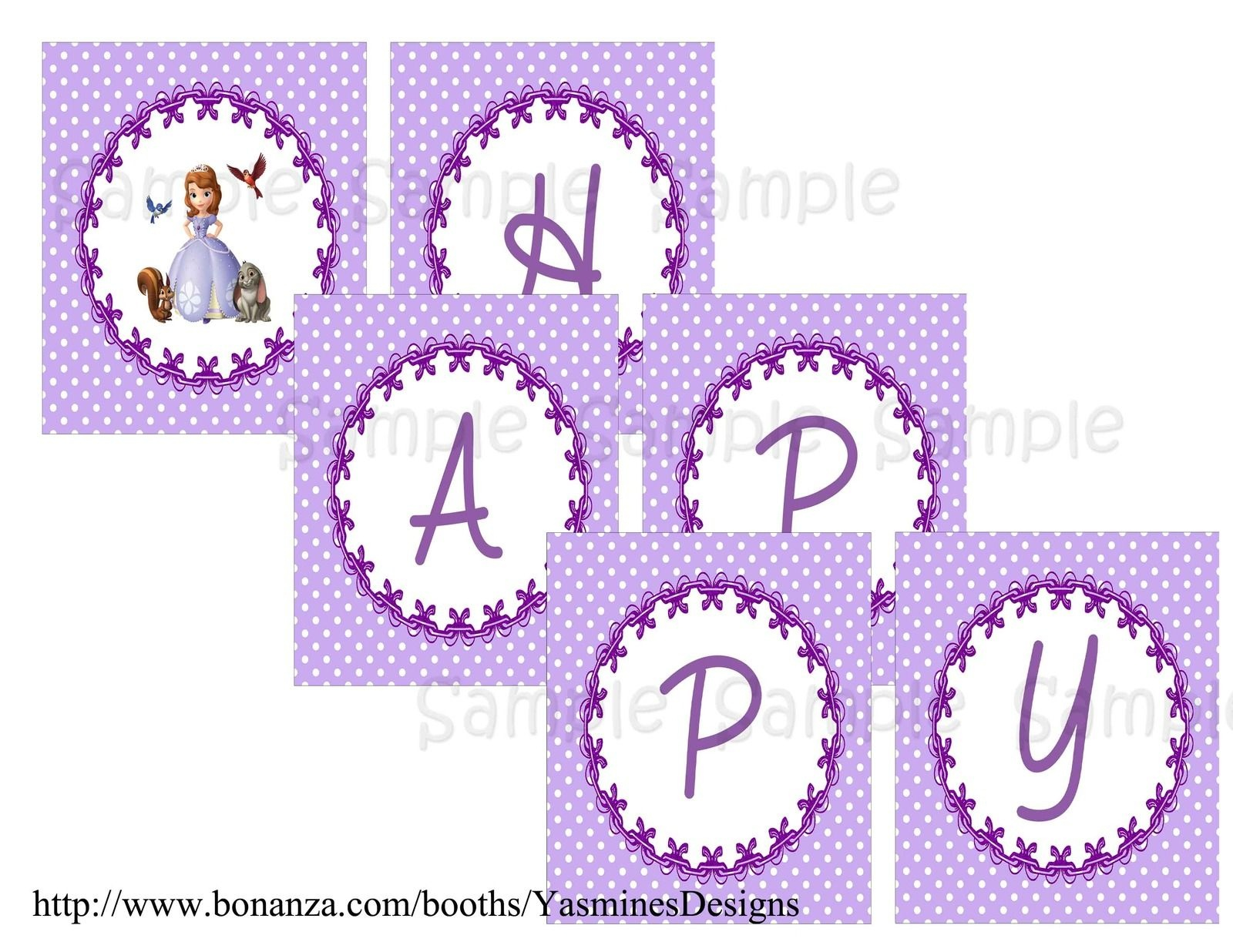 Sofia+The+First+Birthday+Banner+Printable+Free   Sofia In 2019 - Sofia The First Cupcake Toppers Free Printable