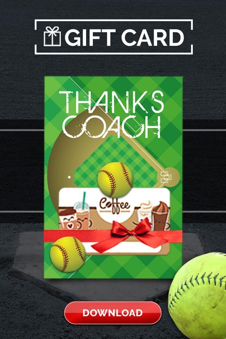 Softball Coach Gift Thank You Card - Free Printable Download - Free Printable Softball Pictures