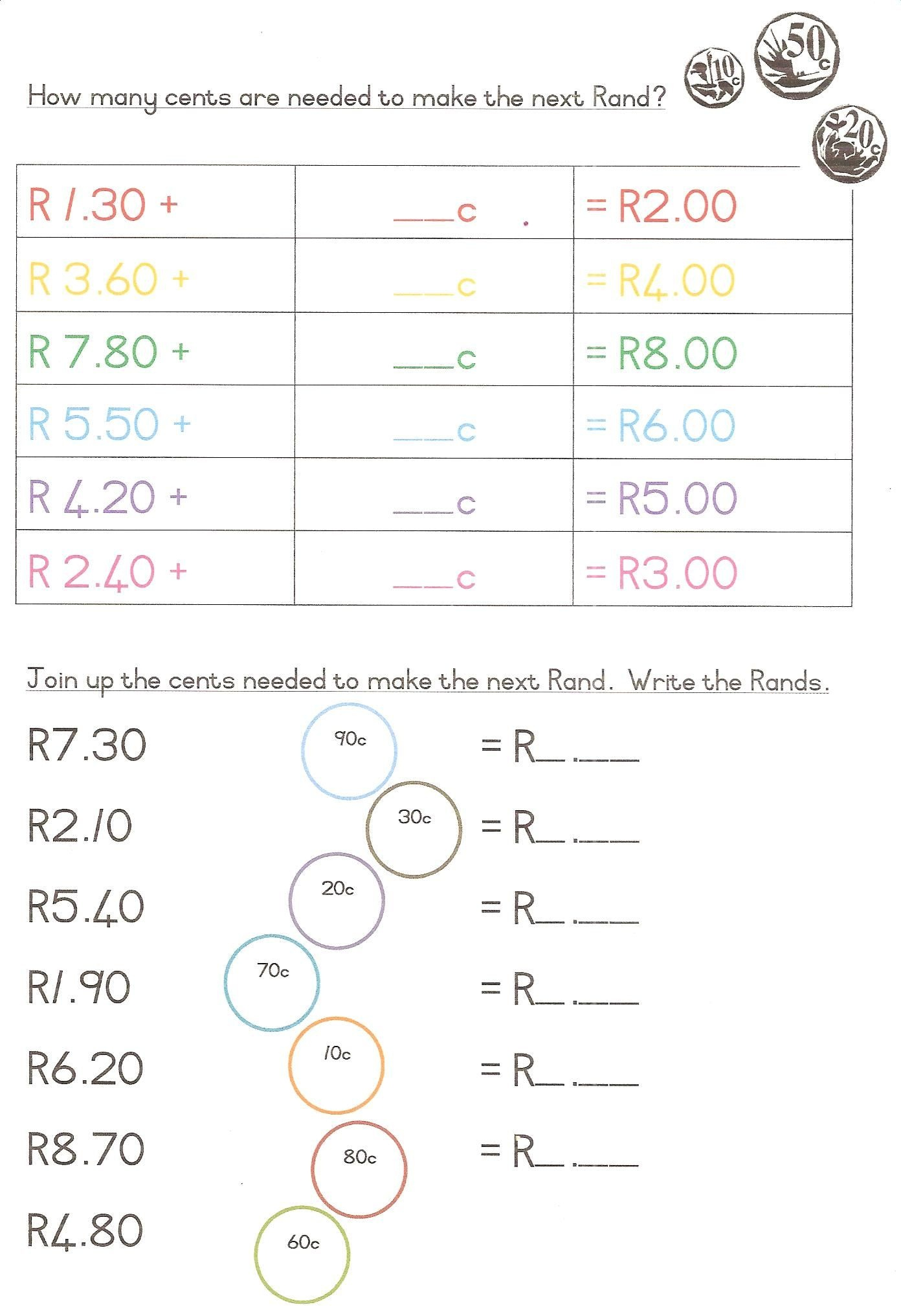 South African Currency Worksheets - Google Search   Mathematics - Free Printable Worksheets On Africa