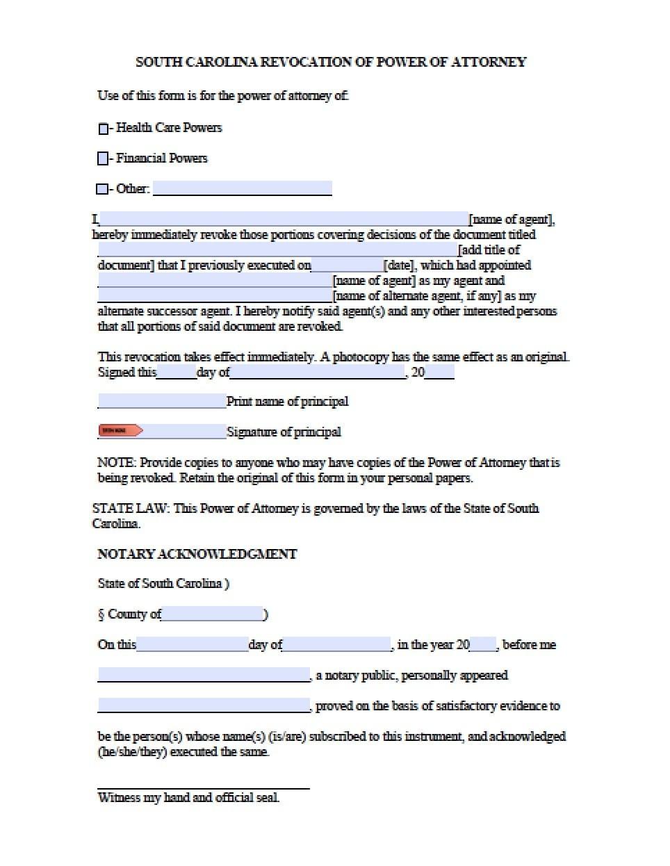South Carolina Revocation Power Of Attorney Form - Power Of Attorney - Free Printable Revocation Of Power Of Attorney Form
