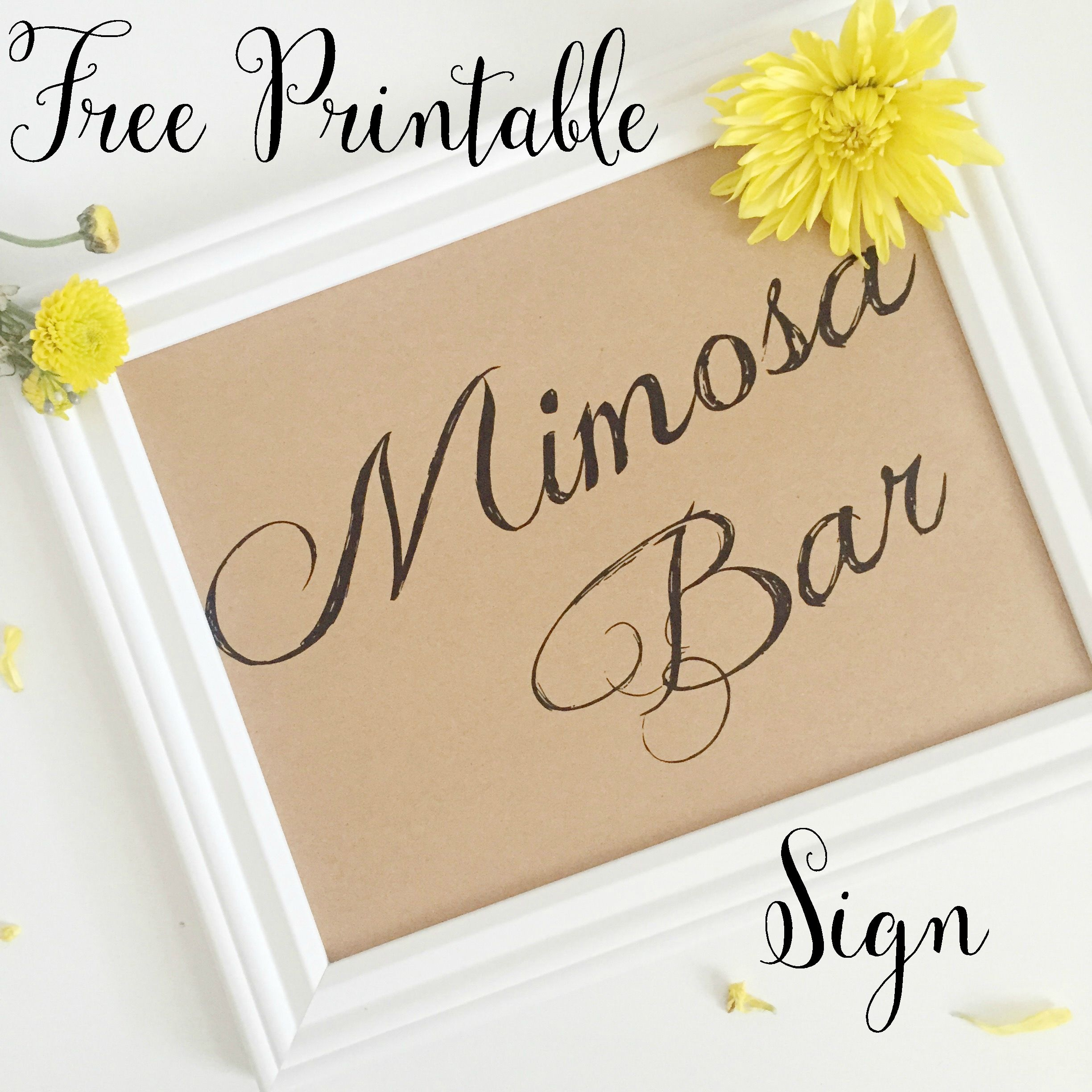 Southern Chic Bridal Shower Free Printable - Fleur De Lis Event - Free Mimosa Bar Printable