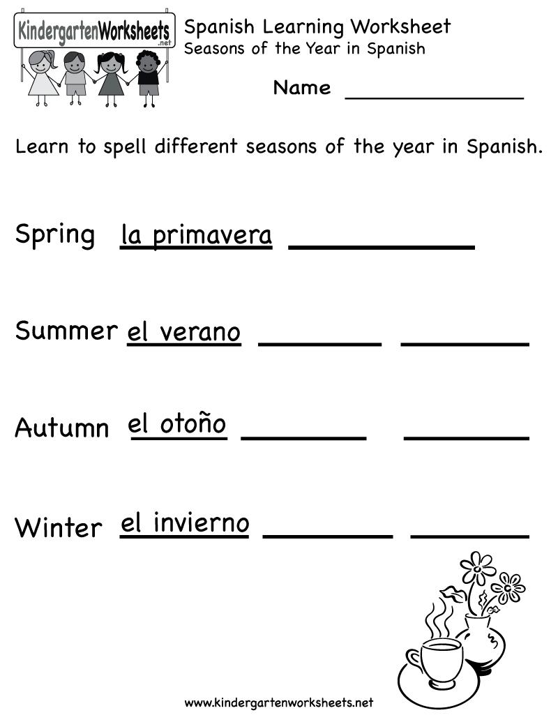Free Printable Elementary Spanish Worksheets | Free Printable