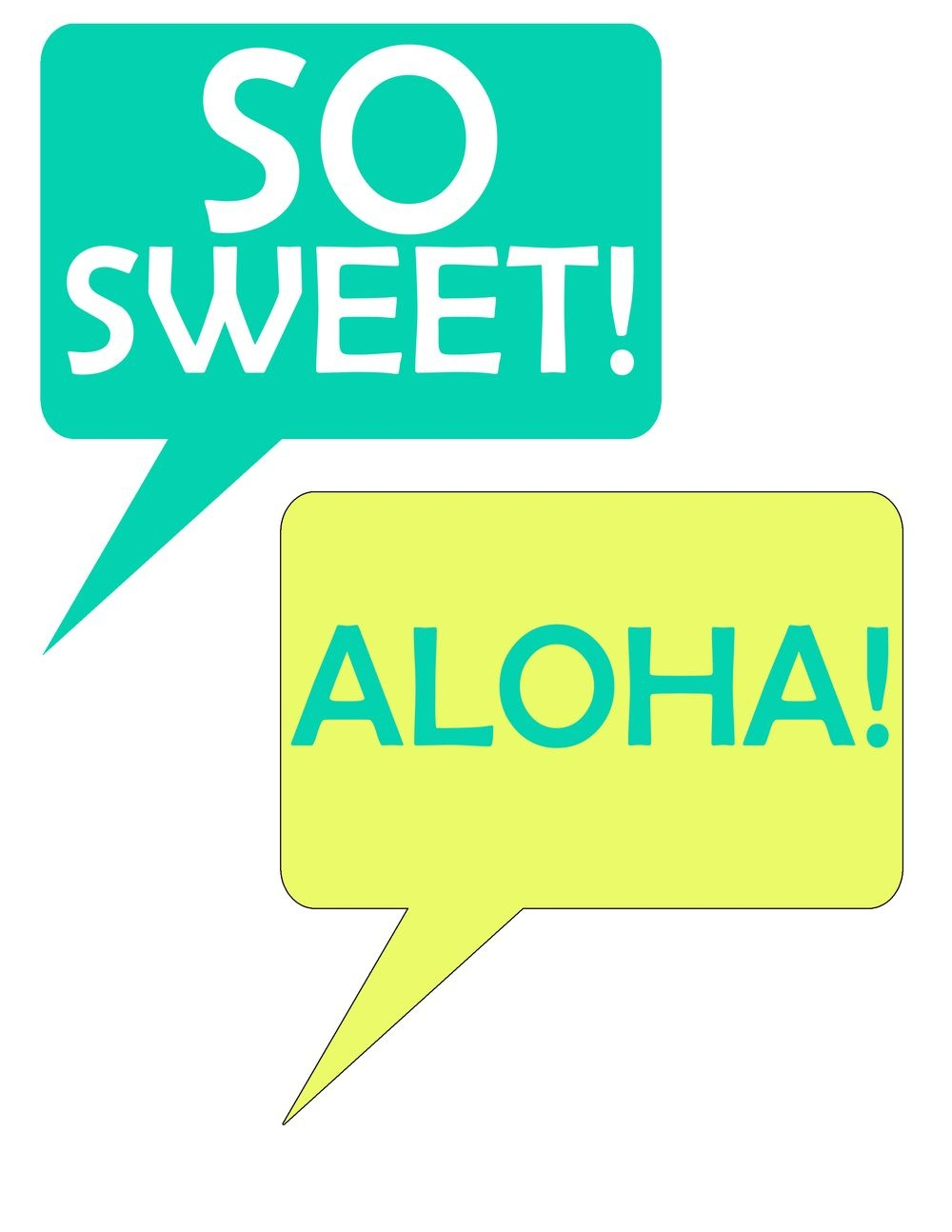 Speech Bubbles From Pineapple Printable Photo Booth Prop Set   Luau - Hawaiian Photo Booth Props Printable Free