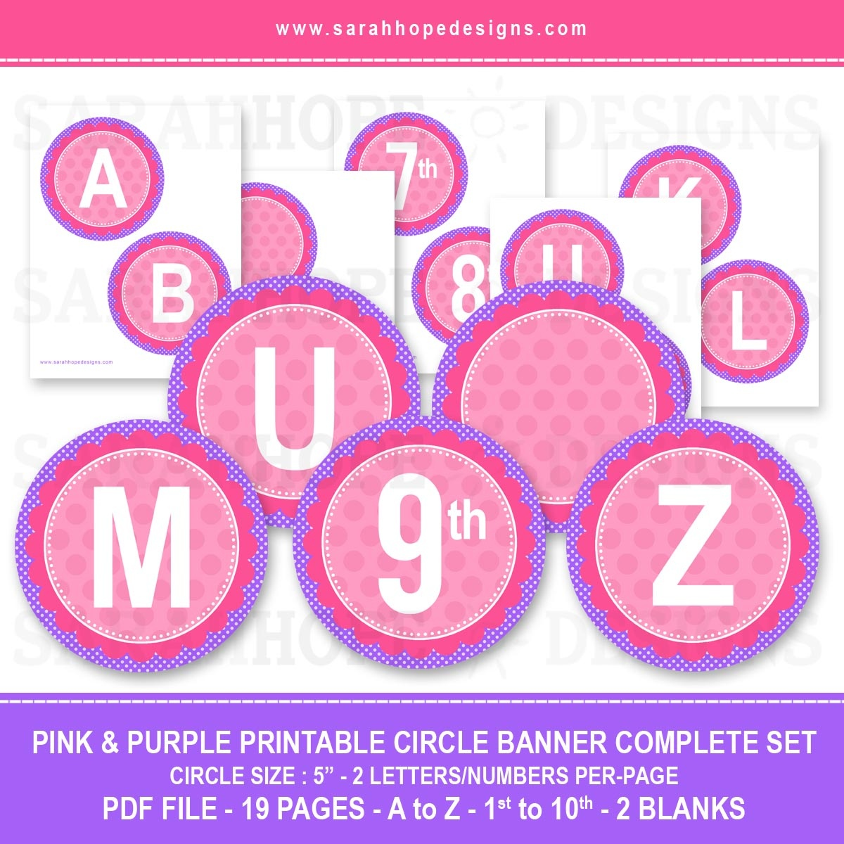 Spell Out Anything With These Free Alphabet Circle Banners From - Free Printable Pink Banner