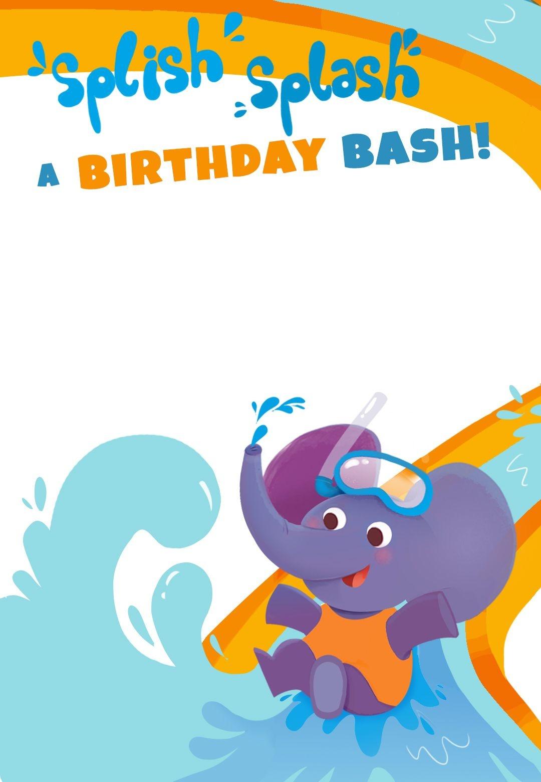 Splish Splash A Birthday Bash - Free Printable Birthday Invitation - Free Printable Water Birthday Party Invitations