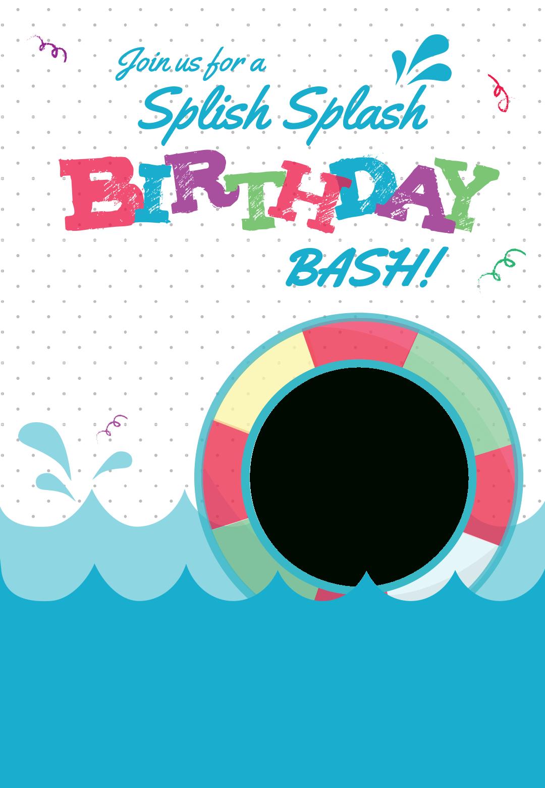 Splish Splash - Free Printable Summer Party Invitation Template - Free Printable Pool Party Birthday Invitations