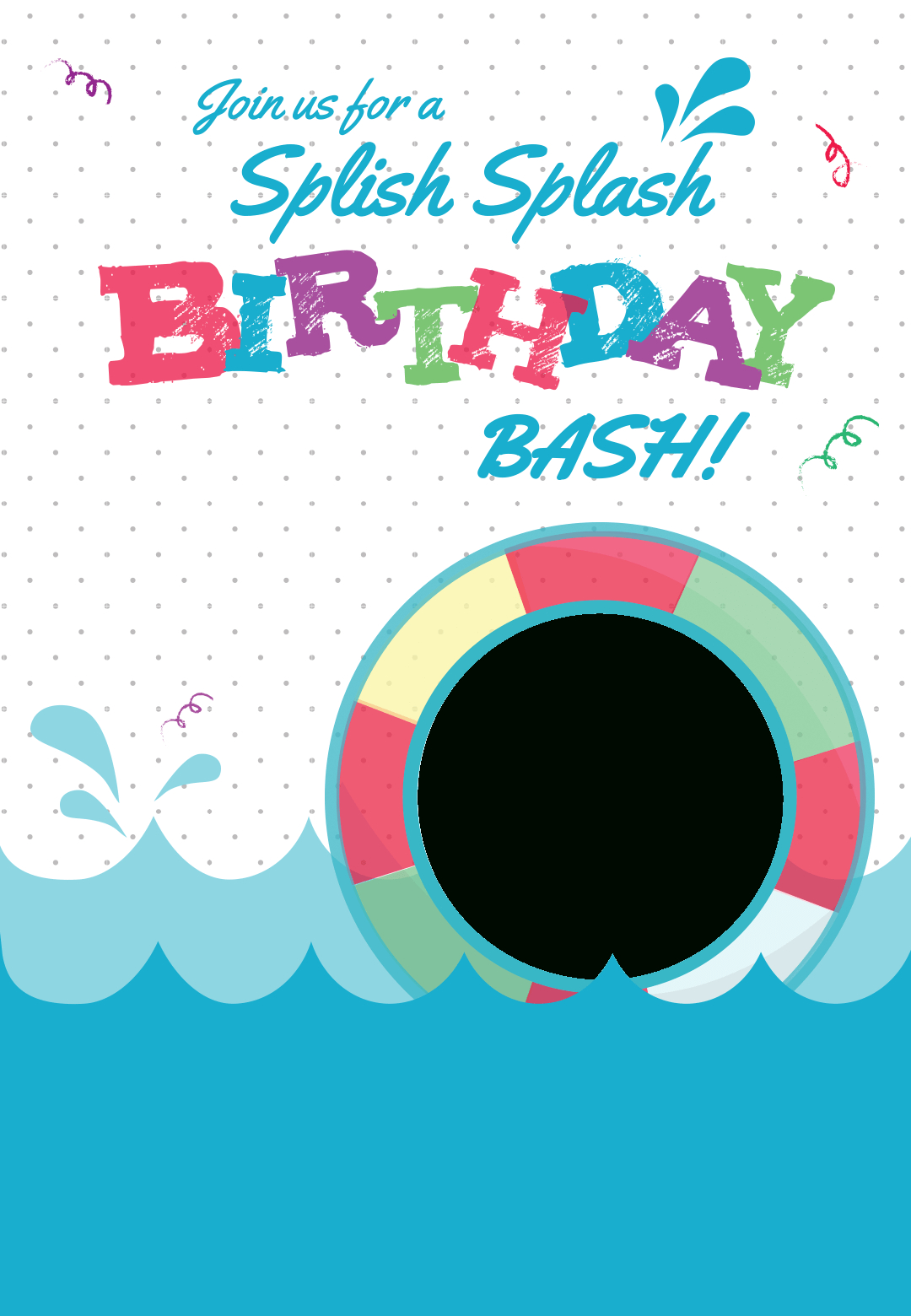 Splish Splash - Free Printable Summer Party Invitation Template - Free Printable Water Birthday Party Invitations