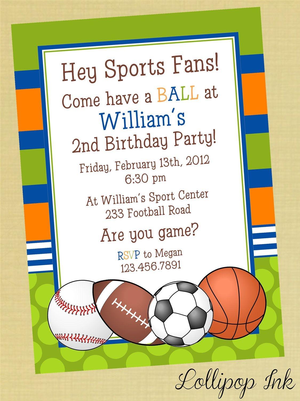 Sports Printable Birthday Invitation, Personalized Sports Birthday - Free Printable Soccer Birthday Invitations