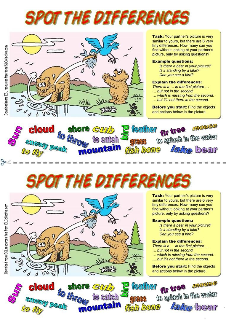 Spot The Differences (3). Bears Fishing Worksheet - Free Esl - Free Printable Spot The Difference Worksheets