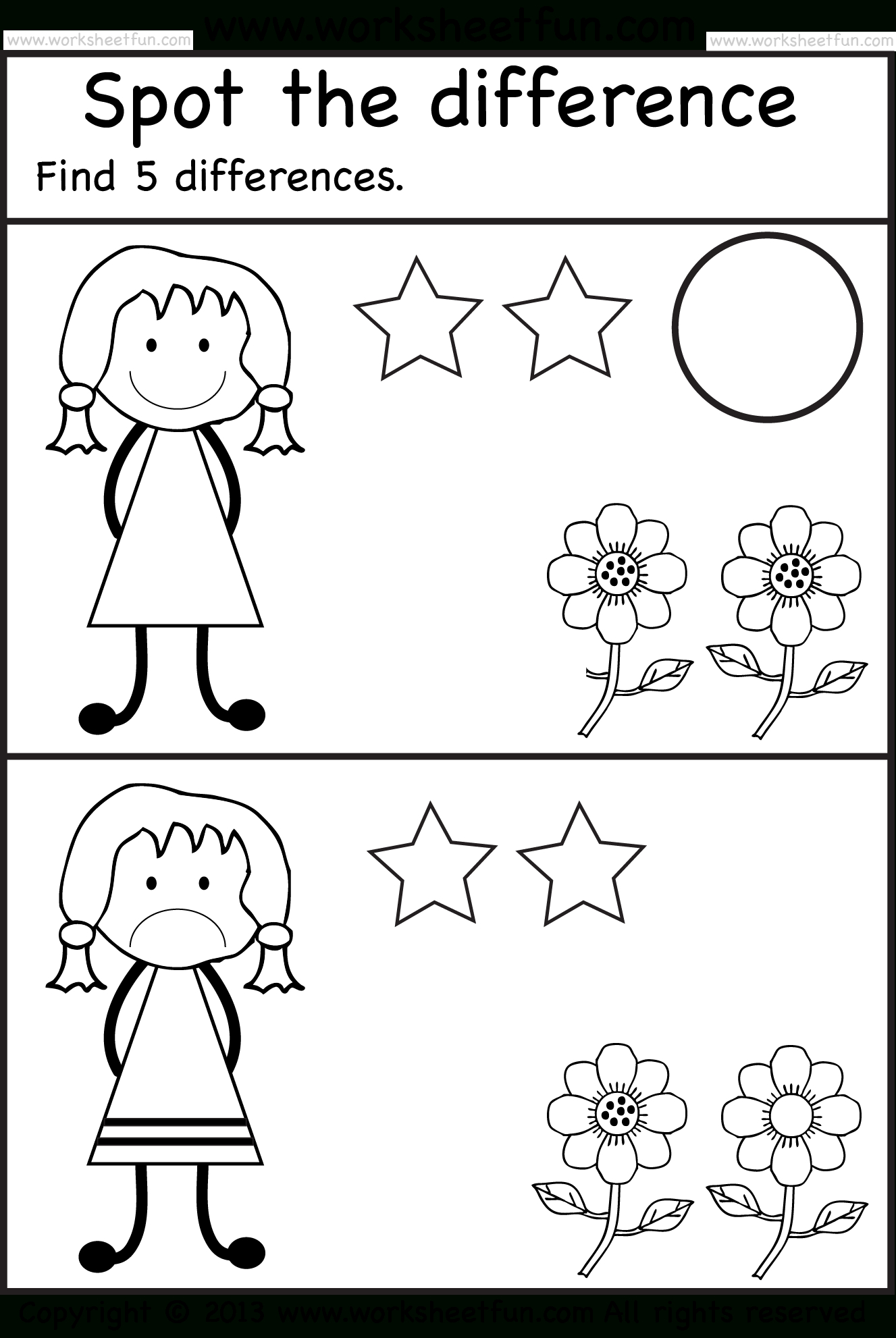 Spot The Differences   Pre K Activities   Kindergarten Worksheets - Free Printable Spot The Difference For Kids