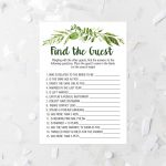 Spring Foliage Find The Guest Shower Game Printable Greenery Bridal   Find The Guest Game Free Printable
