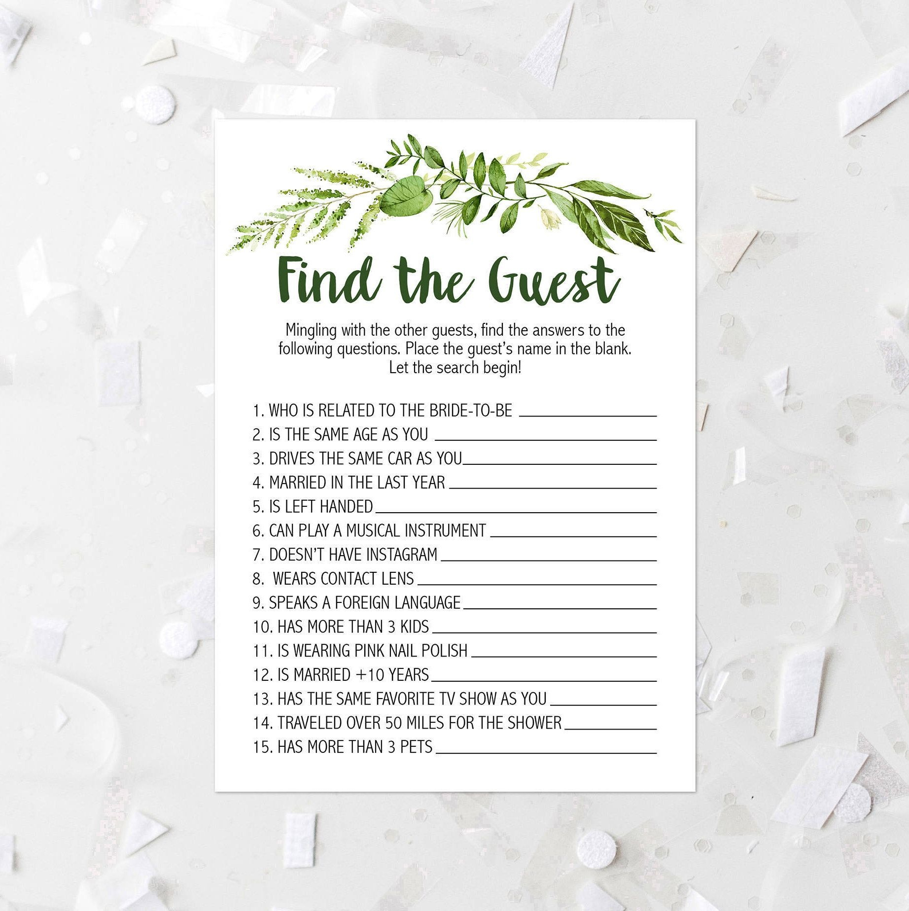 Spring Foliage Find The Guest Shower Game Printable Greenery Bridal - Find The Guest Game Free Printable