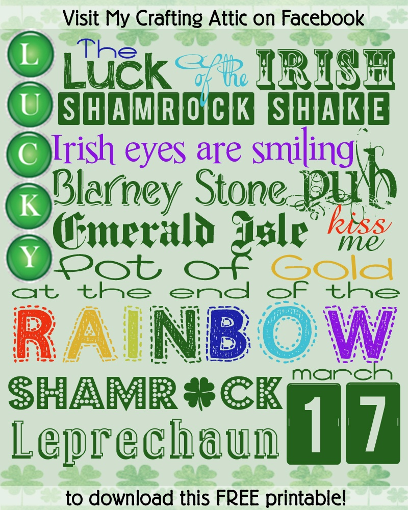 St Patrick's Day Fonts & Free Subway Art – Cherry Blossom Love - Free St Patrick's Day Subway Art Printables