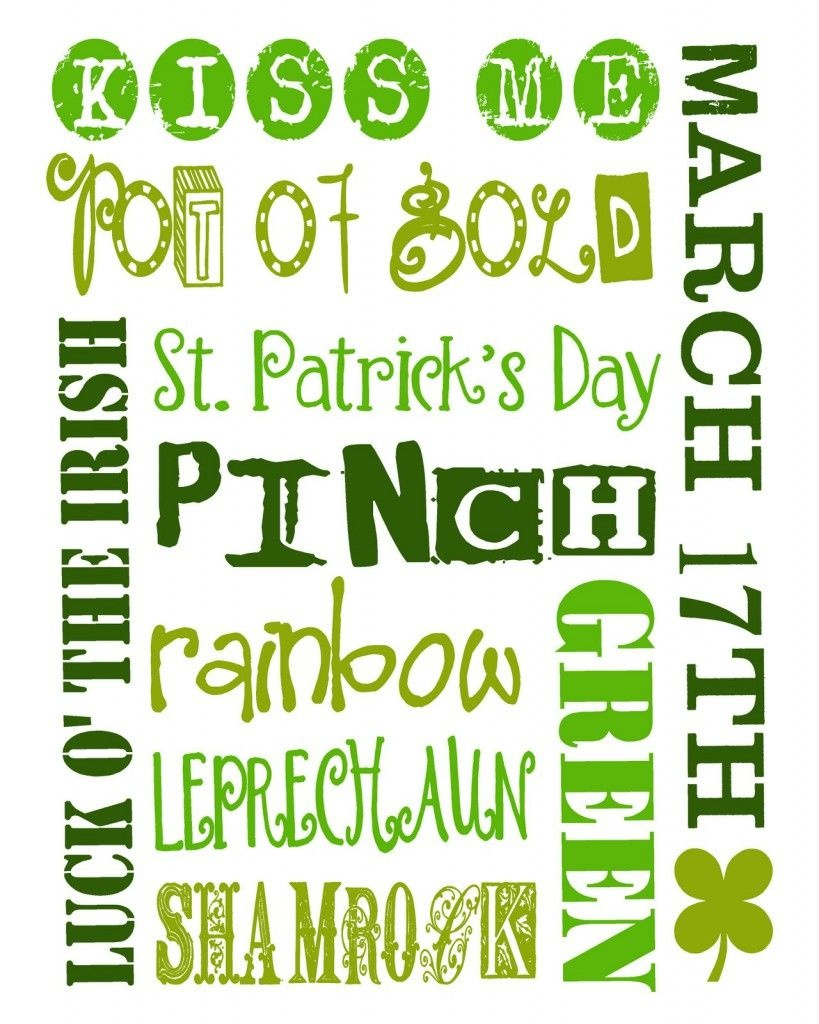 St. Patrick's Day I Spy Printable | A Wee Bit Irish! | St Pattys, St - Free St Patrick's Day Subway Art Printables