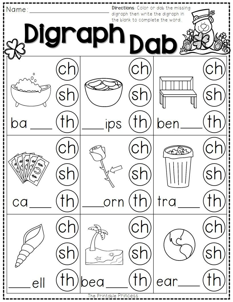 St. Patrick's Day Math And Literacy No Prep Freebie | Reading - Free Printable Ch Digraph Worksheets