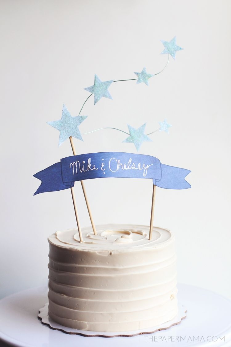 Star And Banner Cake Topper (With Free Printables) - The Paper Mama - Free Printable Happy Birthday Cake Topper