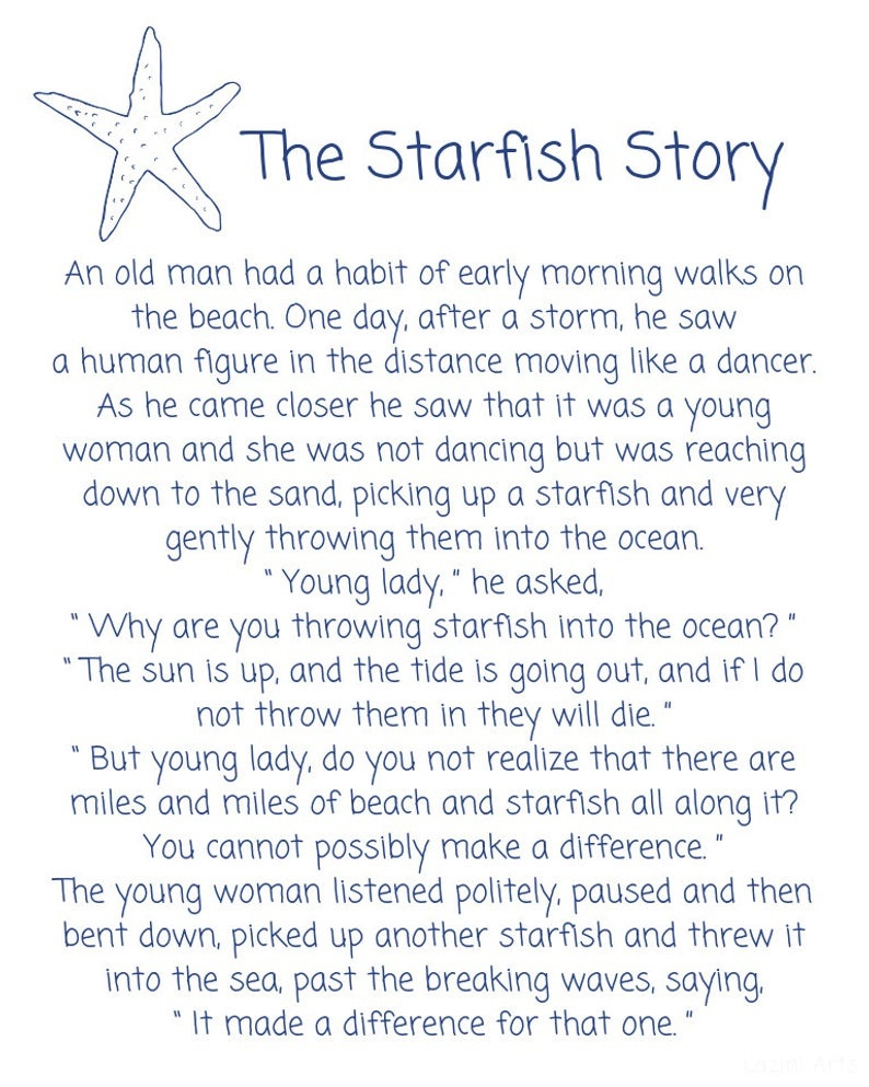 Starfish Poemloren Eiseley The Starfish Story Printable   Etsy - Starfish Story Printable Free