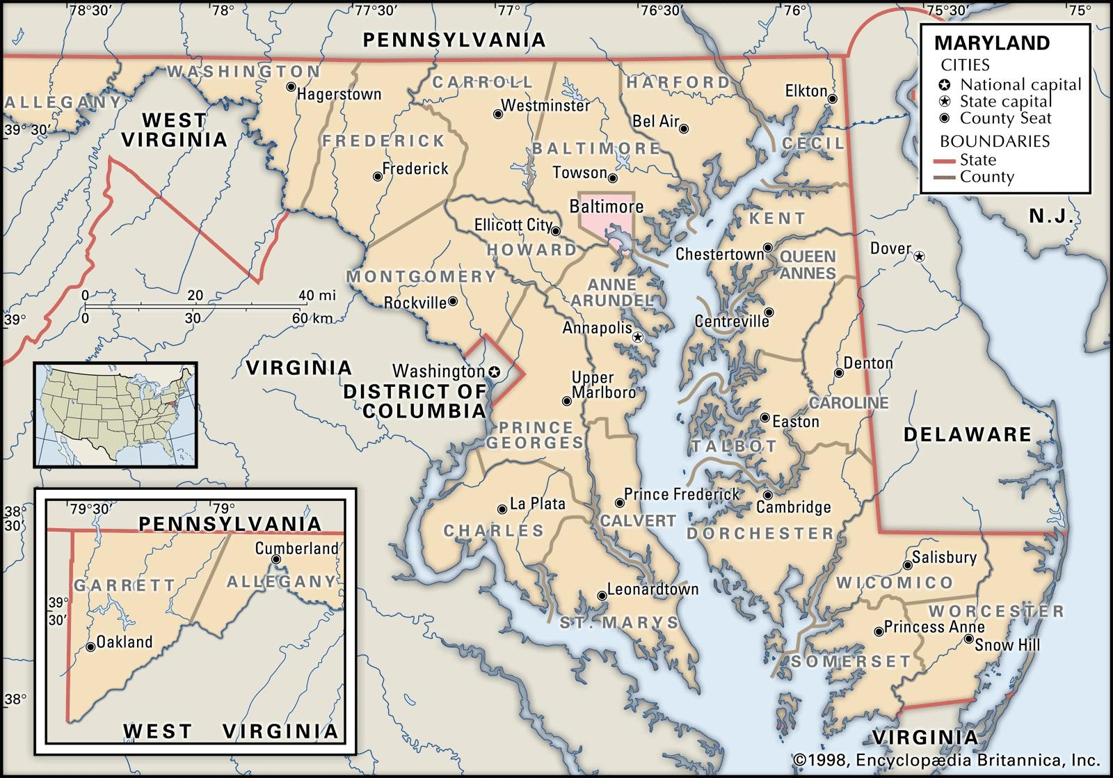 State And County Maps Of Maryland - Free Printable Map Of Maryland