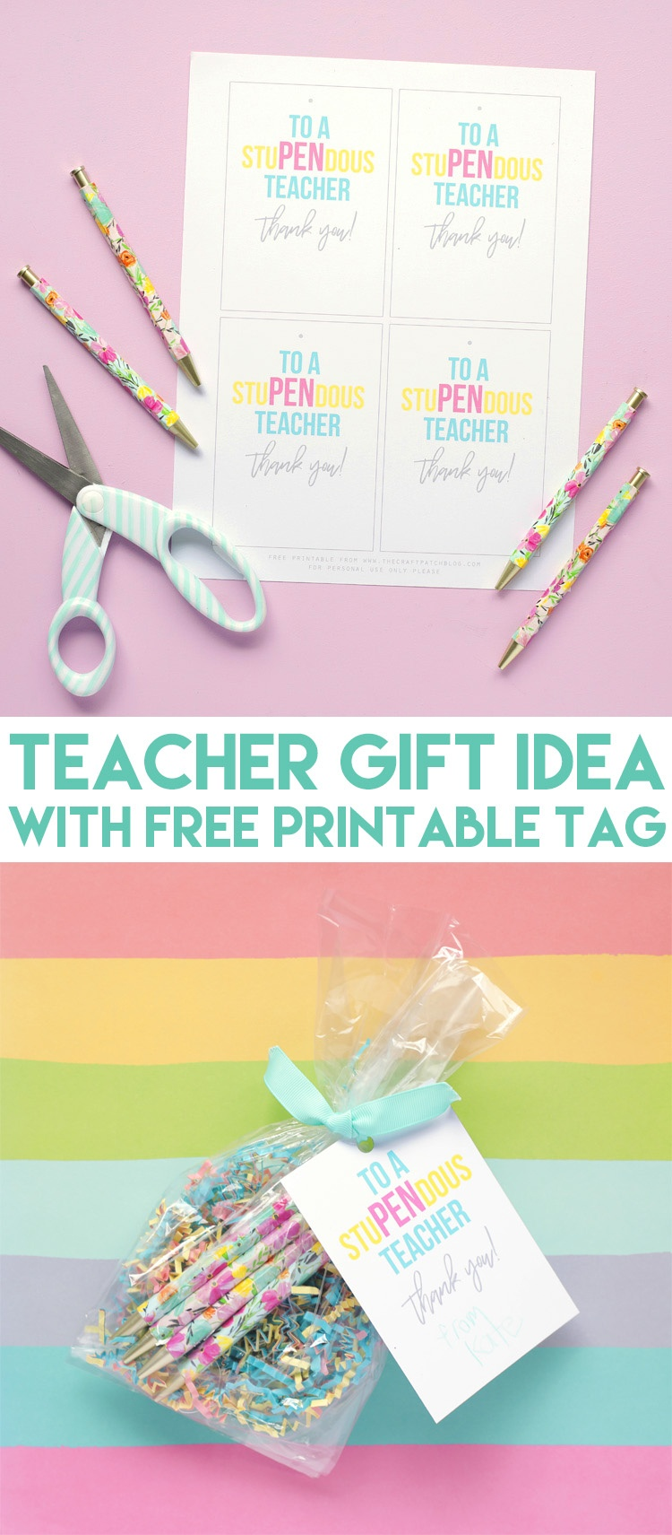 Stupendous Teacher Appreciation Gift Idea With Free Printable Tag - Free Printable Teacher Appreciation Gift Tags