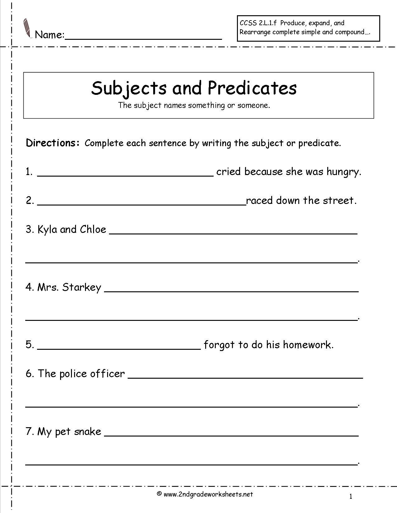 Free Printable Subject Predicate Worksheets 2Nd Grade ...