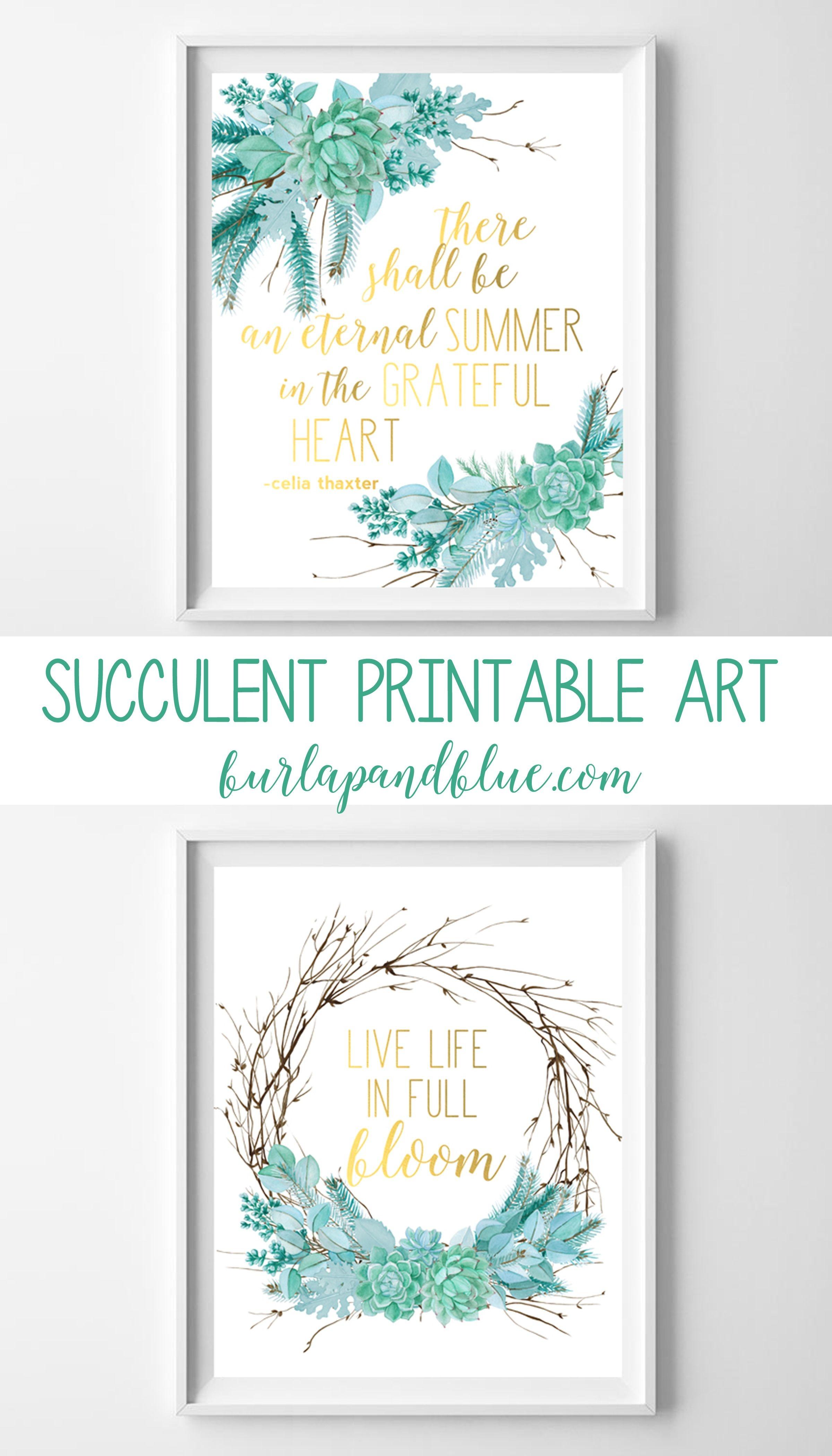 Succulent Arrangements {Free Printable Succulent Wall Art}   Burlap+ - Free Printable Art