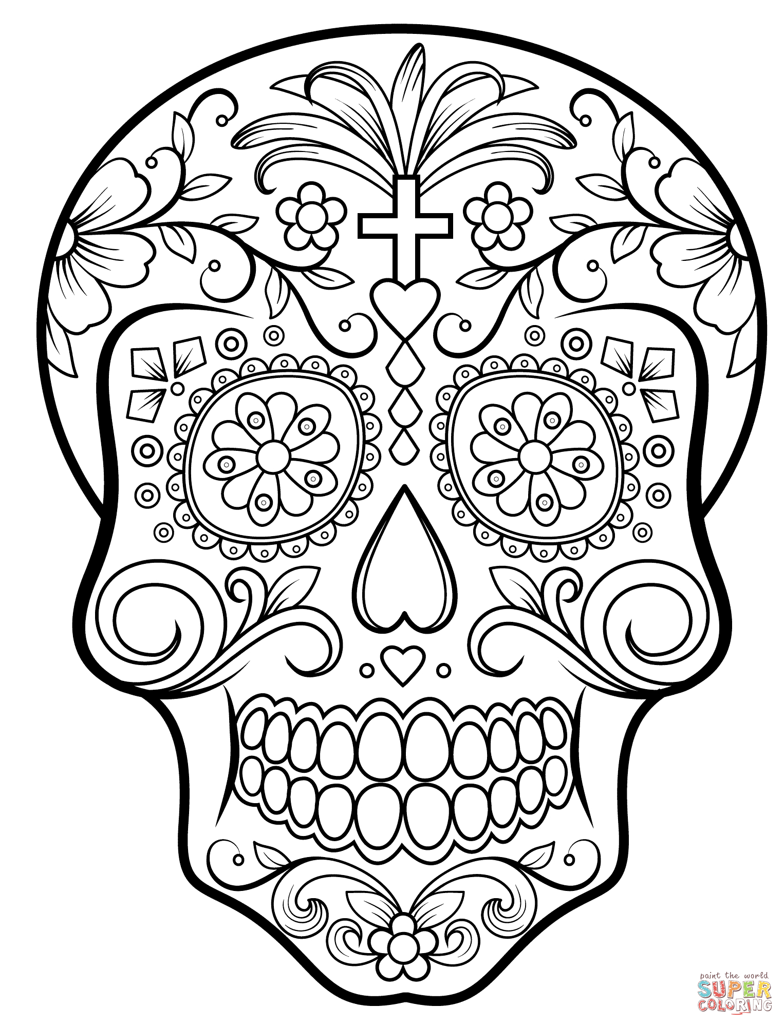 Sugar Skull Coloring Page   Free Printable Coloring Pages - Free Printable Day Of The Dead Coloring Pages