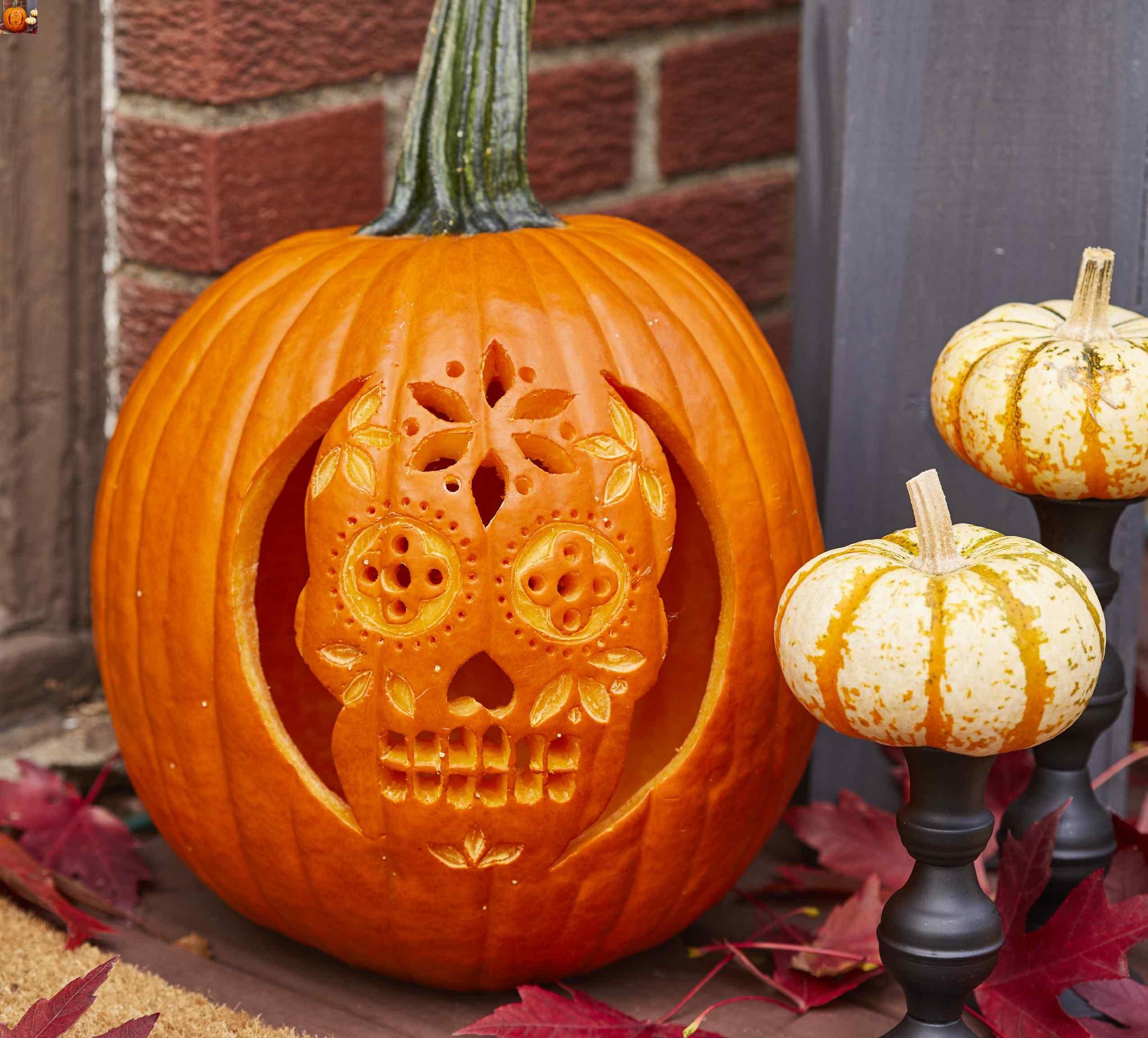 Sugar Skull Pumpkin Stencil   Better Homes & Gardens - Free Printable Sugar Skull Pumpkin Stencils
