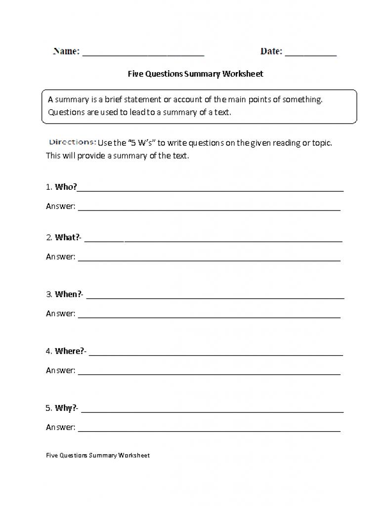 Summarizing Worksheets 4Th Grade For Printable. Summarizing Inside - Free Printable Summarizing Worksheets 4Th Grade