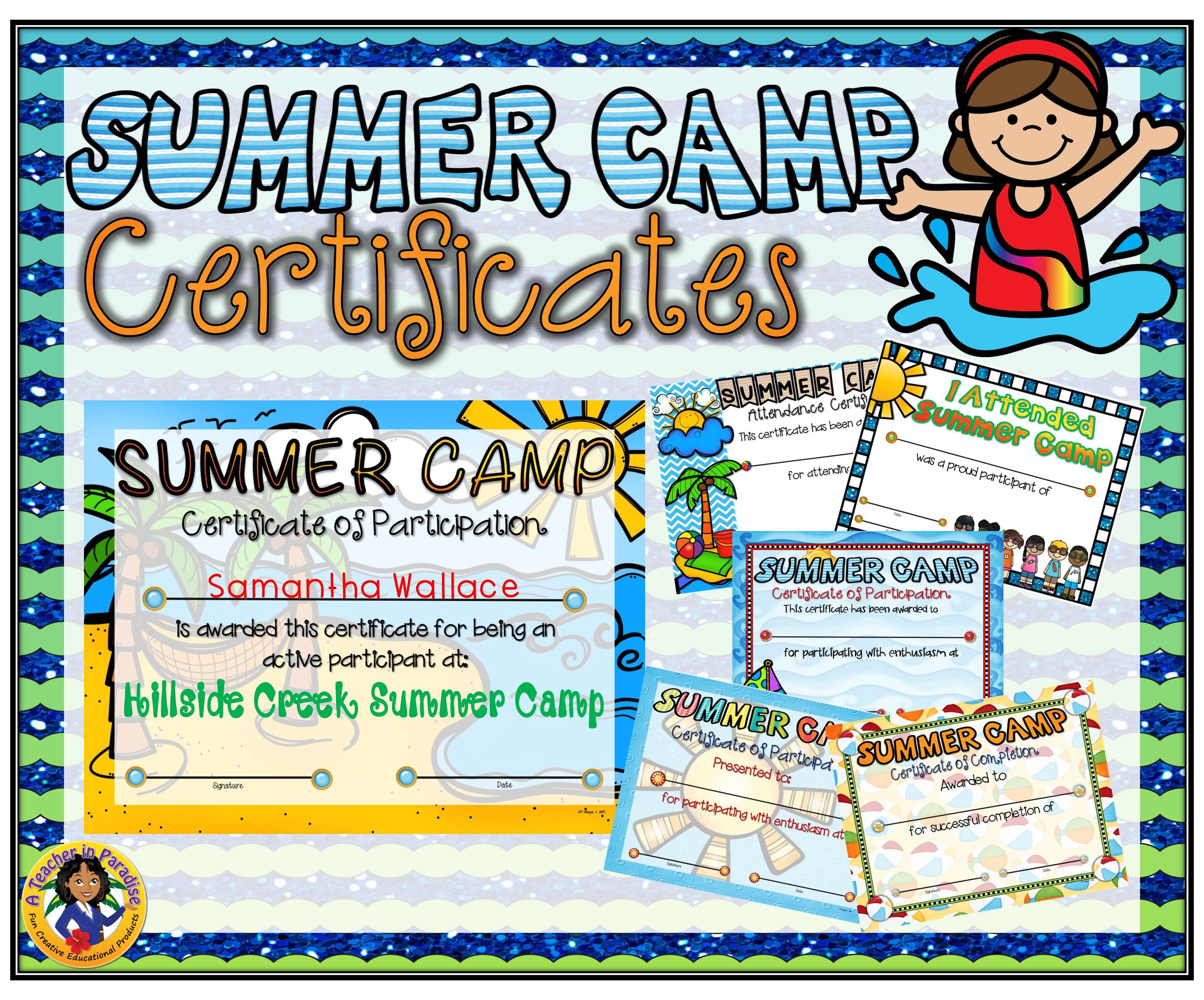 Summer Camp Certificates | A Teacher In Paradise Certificates - Free Printable Camp Certificates