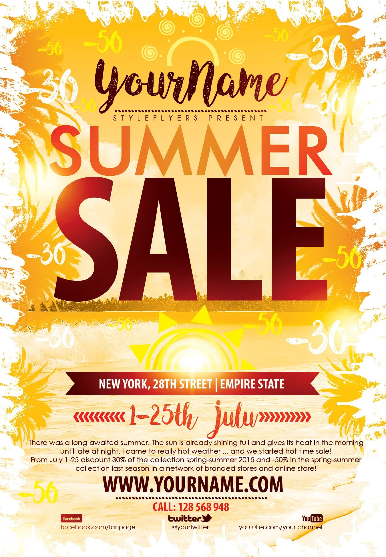 Summer Sale Psd Flyer Template Free Download #9361 | Flyers | Flyer - Free Printable Flyers For Parties