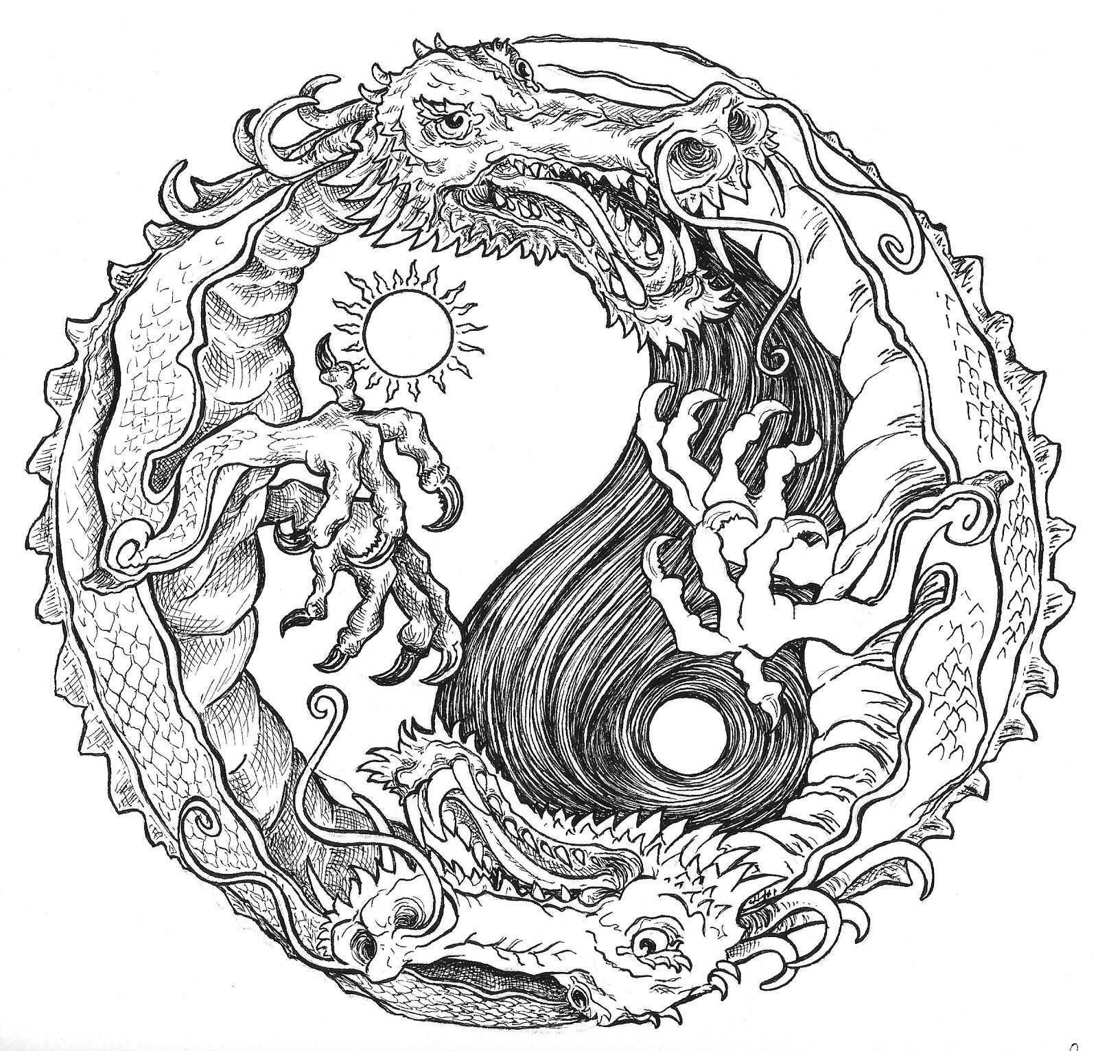 Sun And Moon Dragon Yin Yang Coloring Pages Colouring Adult Detailed - Free Printable Coloring Pages For Adults Advanced