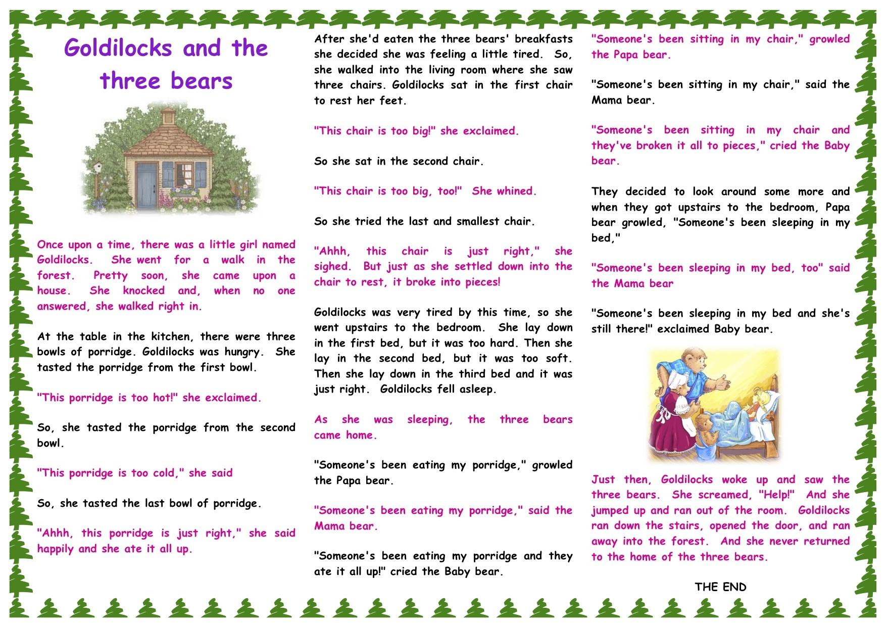 Sunday Storytime   Juzkidz - Free Printable Goldilocks And The Three Bears Story