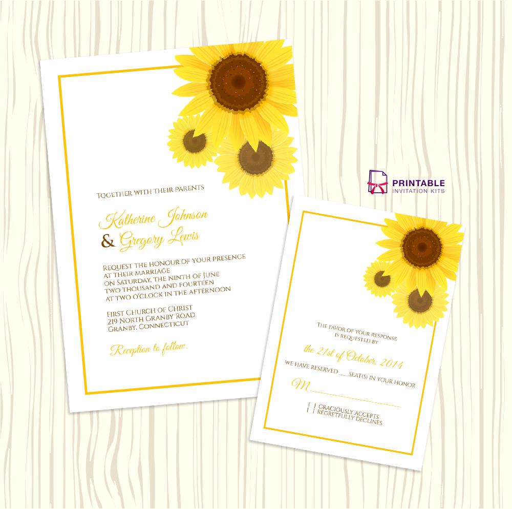 Sunflower Wedding Invitation + Rsvp Templates ← Wedding Invitation - Free Printable Sunflower Wedding Invitation Templates